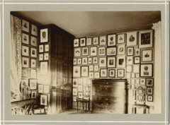 Picture showing parts of the collection hung in Wittrock's study in the Professor's residence at the